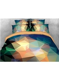 Gradient Geometric Diamond Printed 4-Piece 3D Abstract Bedding Sets/Duvet Covers