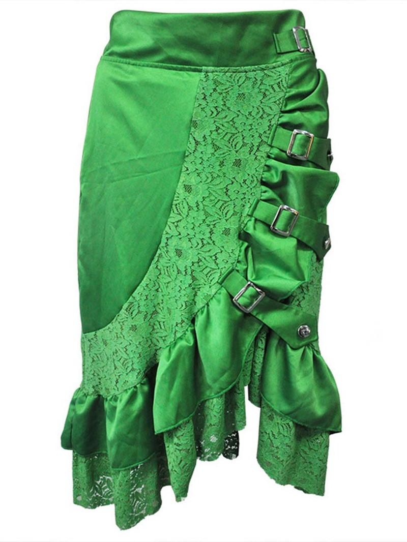 Ericdress Halloween Costume Mid-Calf Falbala Asymmetrical High Waist Skirt