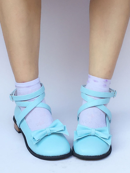 Milanoo Sweet Lolita Shoes Blue Chunky Heel Round Toe Ankle Strap Lolita Pumps Shoes With Bow