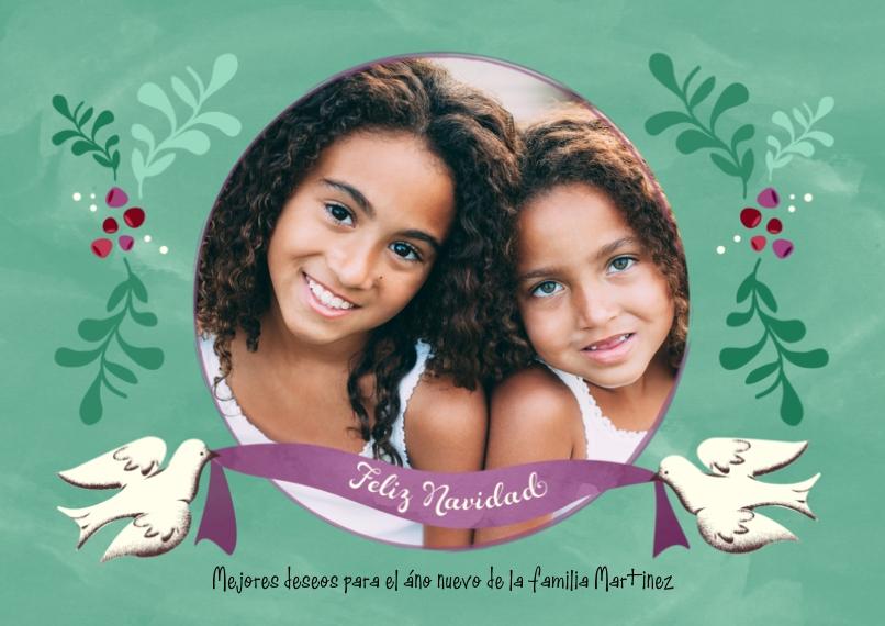 Tarjetas de Navidad 5x7 Cards, Premium Cardstock 120lb with Rounded Corners, Card & Stationery -Dove Ribbon Feliz Navidad