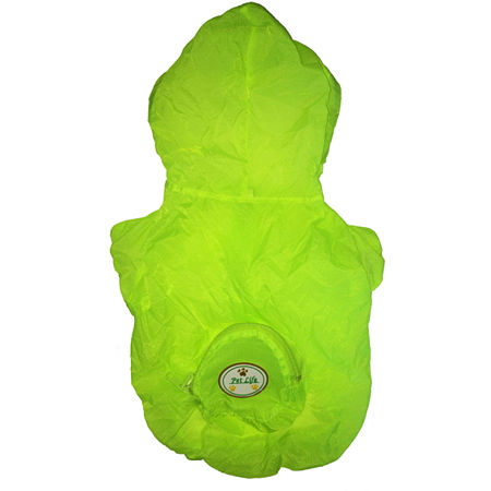 The Pet Life The Ultimate Waterproof Thunder-Paw Adjustable Zippered Folding Travel Dog Raincoat, One Size , Yellow
