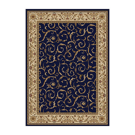 Como Scroll Traditional Oriental Area Rug, One Size , Blue