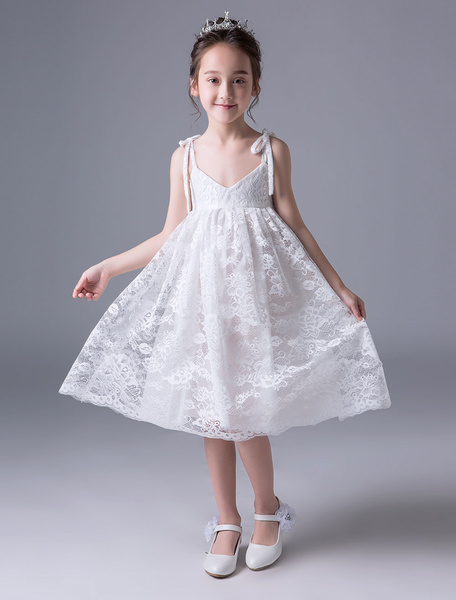 Milanoo Lace Flower Girl Dresses Ivory V Neck Kids Slip Dress Knee Length Short Party Dresses