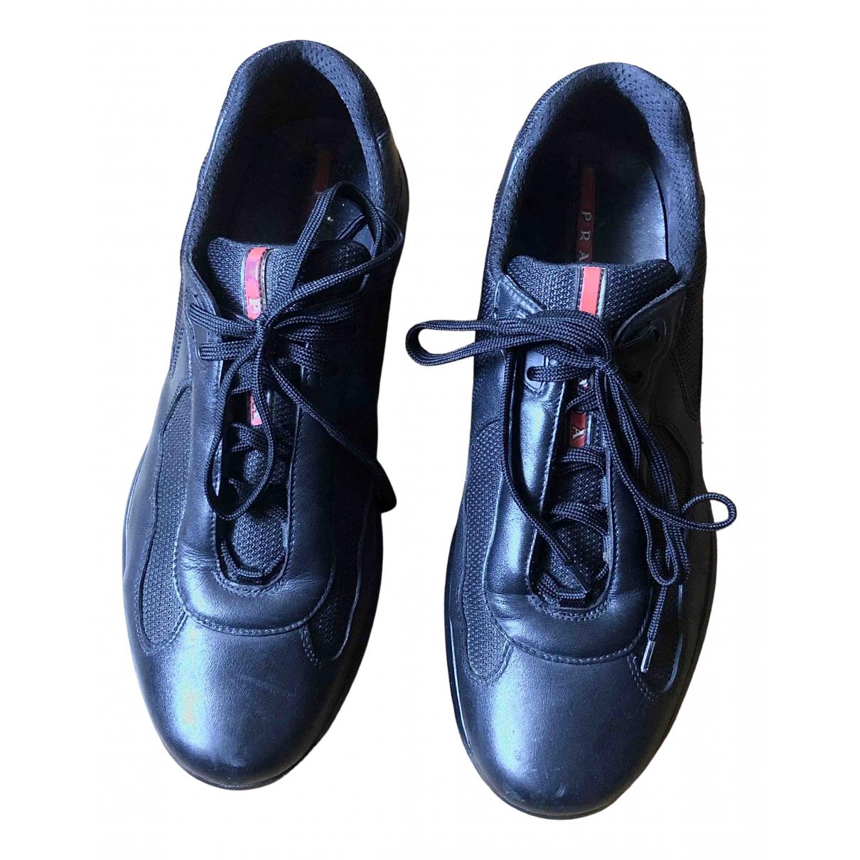 Prada \N Black Leather Trainers for Men 46 EU