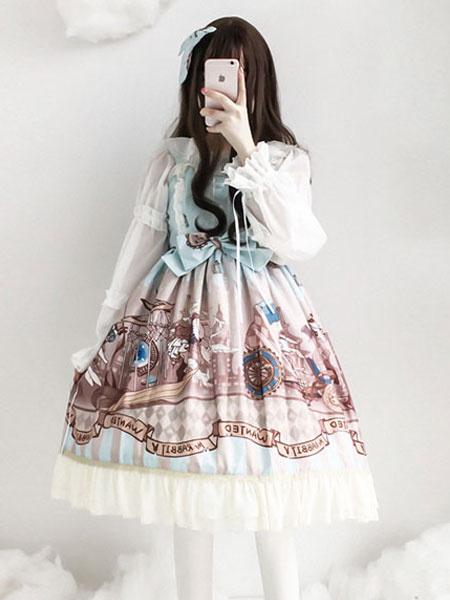 Milanoo Classic Lolita JSK Print Ruffle Bow Lace Cotton Slub Lolita Jumper Skirt