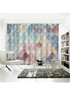 3D 2 Slices Colorful Rhomb Geometric Pattern Polyester Curtain