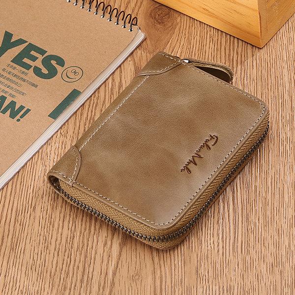FALANMULE Genuine Leather Zipper Short Wallets Portable Card Holder Coin Purse For Men