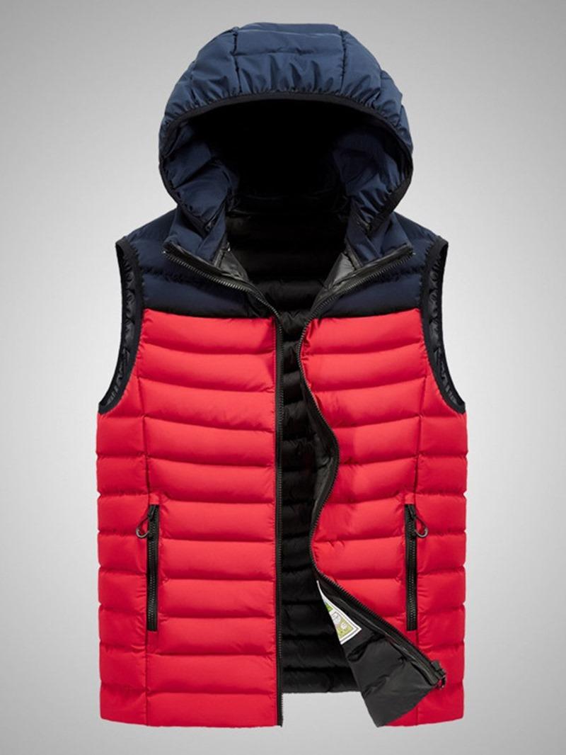 Ericdress Thick Zipper Color Block Casual Men's Waistcoat