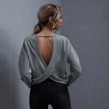 Cutout Detail Overlap Back Pullover