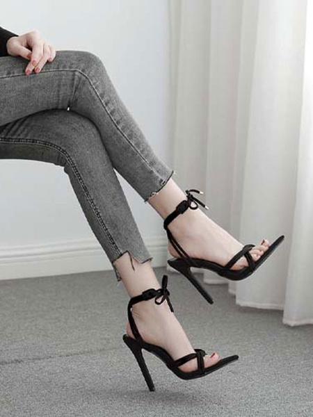 Milanoo High Heel Sandals Womens Lace Up Open Toe Stiletto Heel Sandals