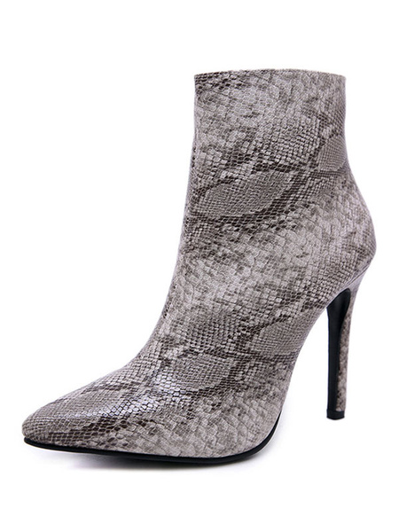 Milanoo Women Ankle Boots Grey Pointed Toe Snake Printed Zip Up High Heel Boots