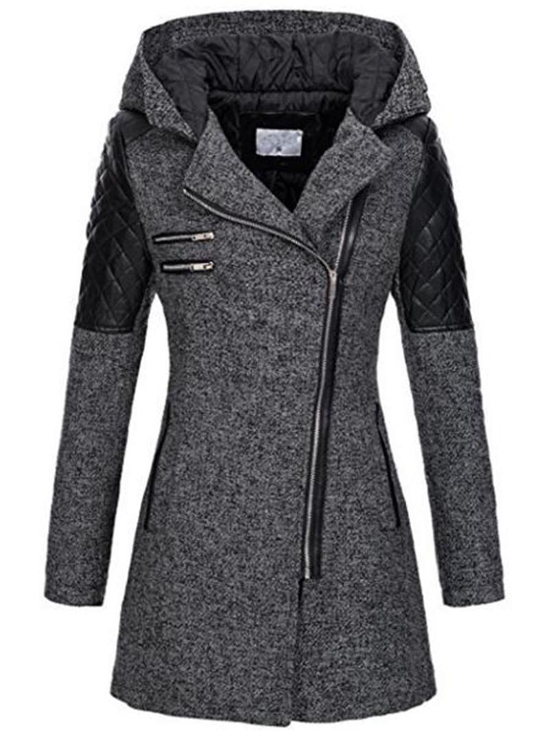 Ericdress Zipper Slim Mid-Length Hooded Jacket
