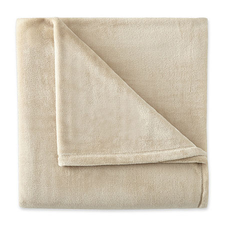 Home Expressions Velvet Plush Throw, One Size , Beige