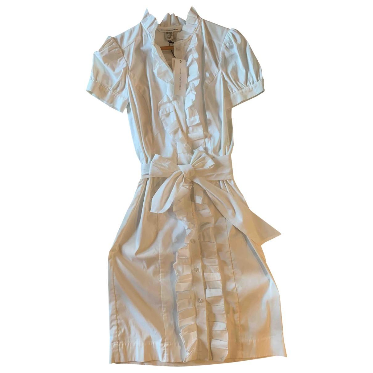 Diane Von Furstenberg \N White Cotton - elasthane dress for Women 6 UK