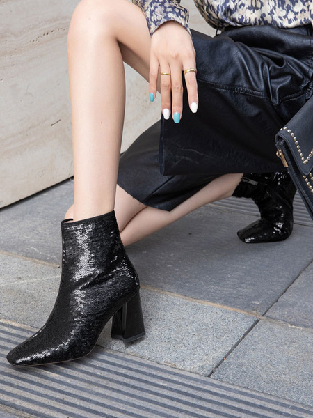 Milanoo Women Ankle Boots Black Sequined Cloth Square Toe Chunky Heel Women Booties