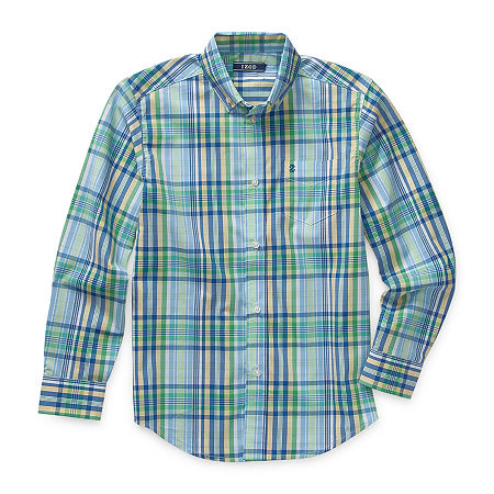 IZOD Big Boys Button Down Collar Long Sleeve Shirt + Tie Set, Small (8) , Green