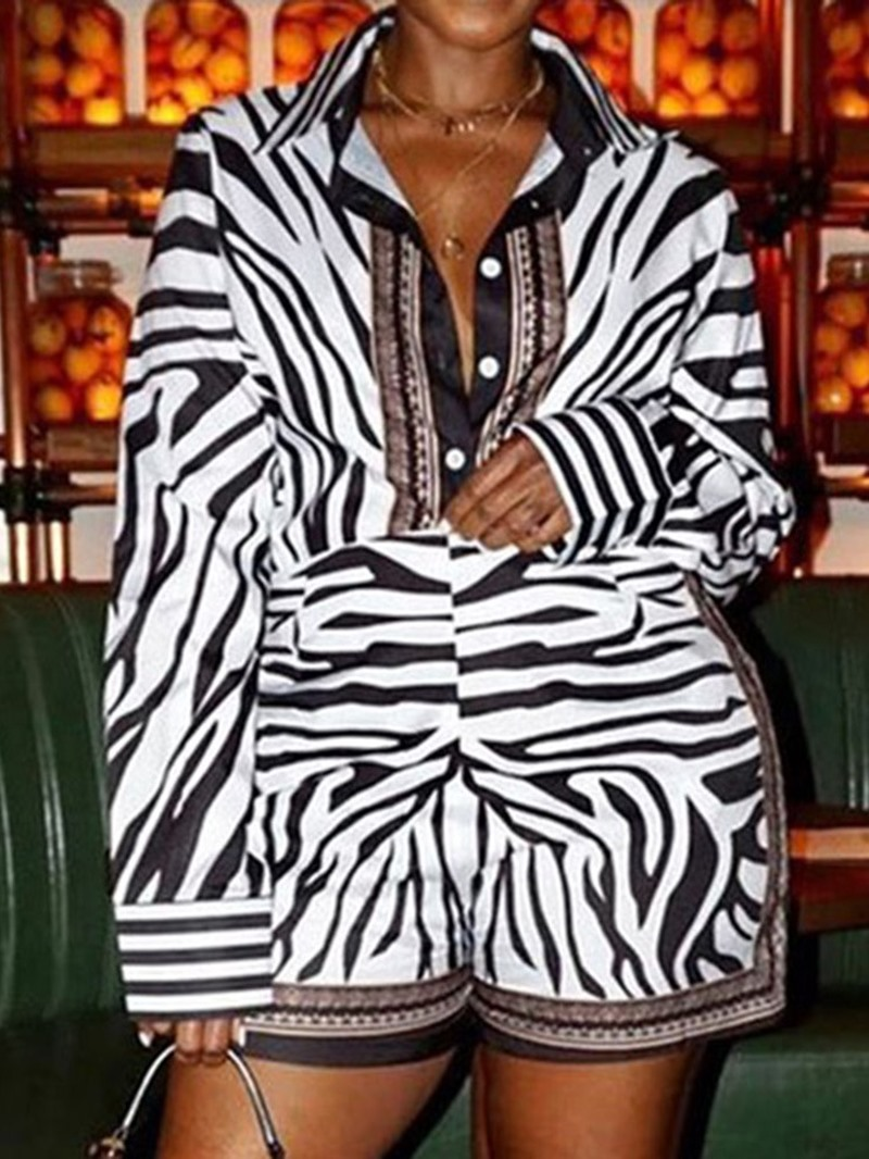 Ericdress Fashion Zebra Stripe Straight Loose Romper