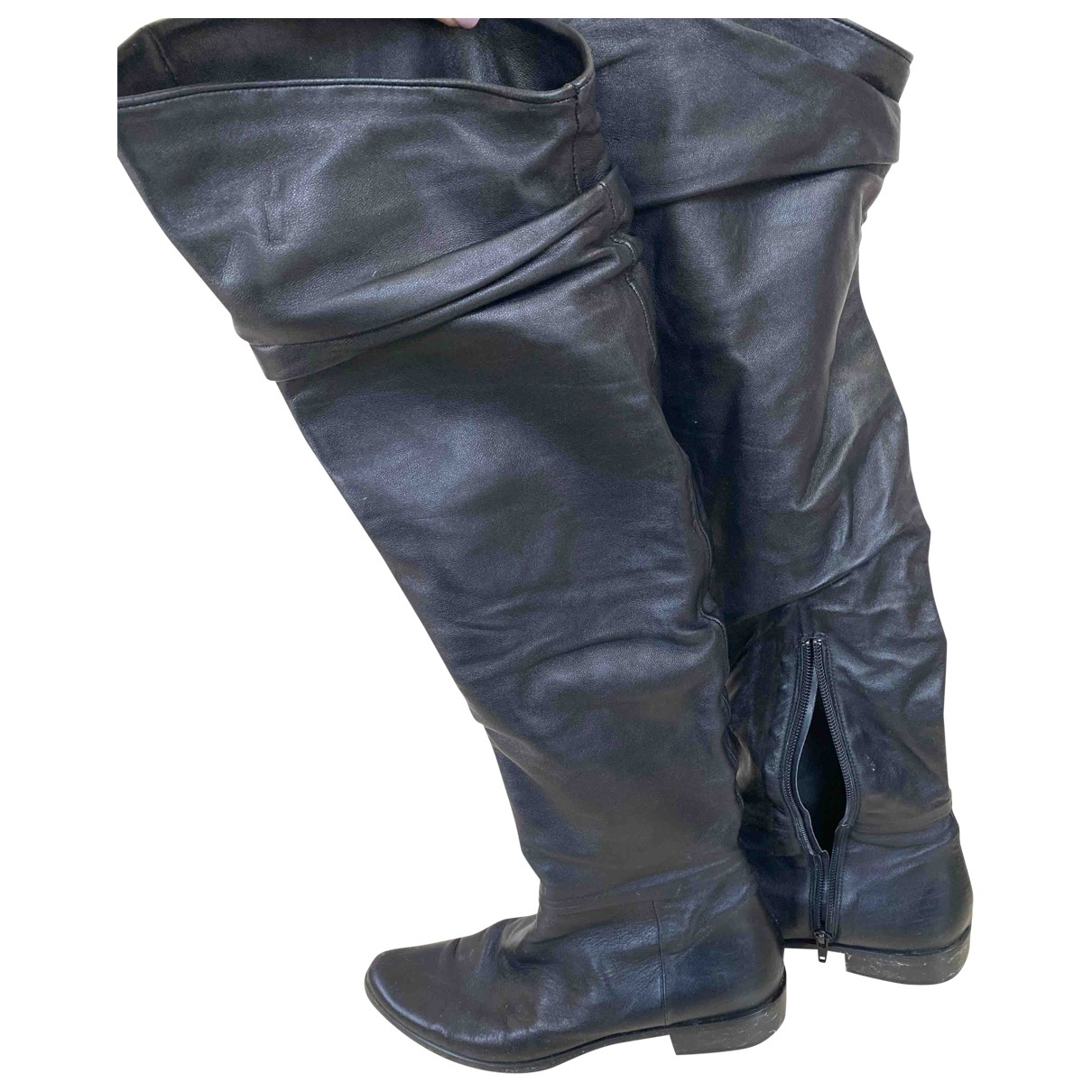 Non Signé / Unsigned \N Black Leather Boots for Women 6 UK
