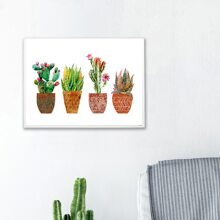 Potted Cactus Print Wall Painting Without Frame