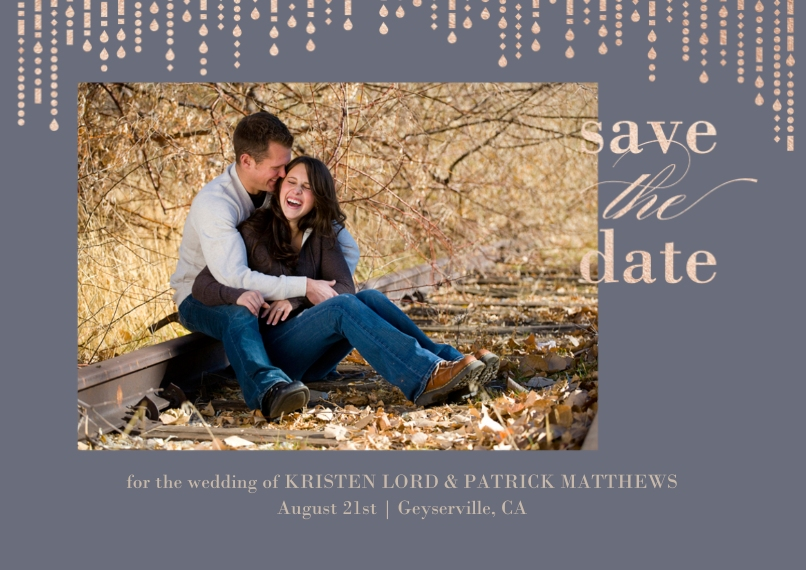 Save the Date 5x7 Cards, Premium Cardstock 120lb with Scalloped Corners, Card & Stationery -Metallic Garland - Save The Date