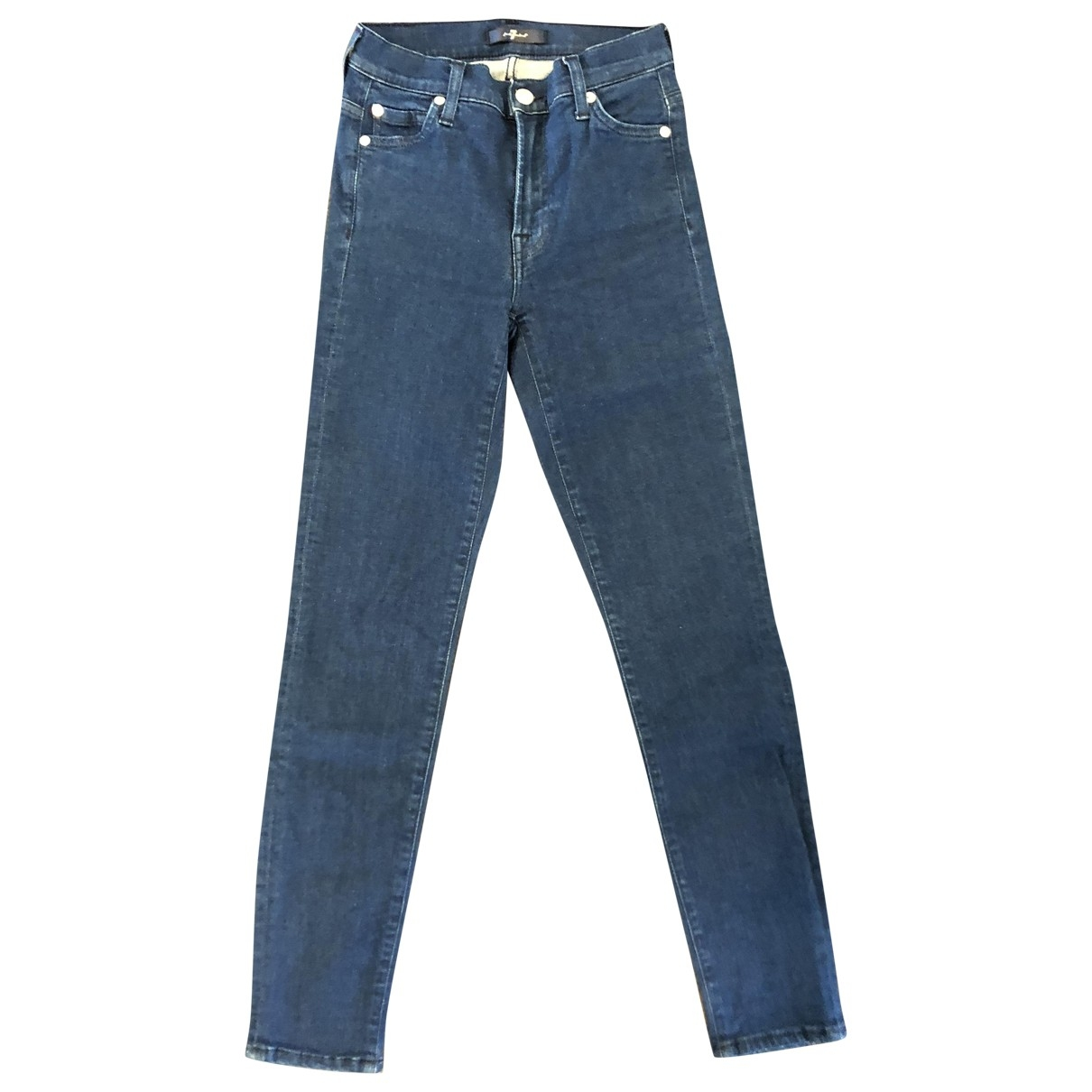 7 For All Mankind \N Blue Cotton - elasthane Jeans for Women 34 FR