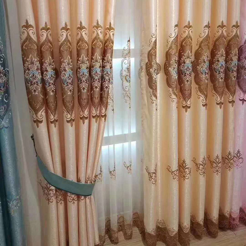Custom Embroidered Sheer Curtains Breathable 2 Panels Drapes for Living Room No Pilling No Fading No off-lining