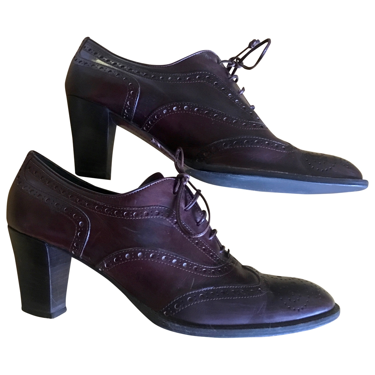 Non Signé / Unsigned \N Brown Leather Lace ups for Women 39 EU