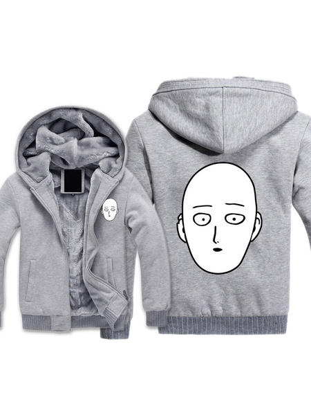 Milanoo One Punch Man Saitama Anime Cosplay Hoodie Winter Black Hoodie Halloween