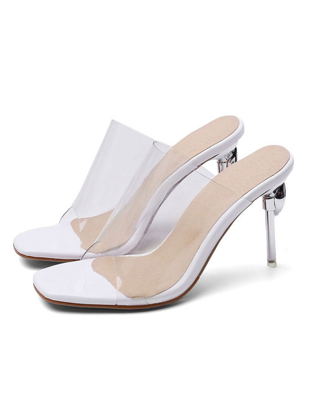 Milanoo Women\'s Transparente Clear Slides White Sandals Square Toe Stiletto Heel Summer Shoes