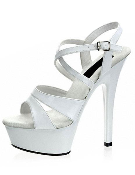 Milanoo High Platform Shoes Black Criss-Cross Sexy Sandals