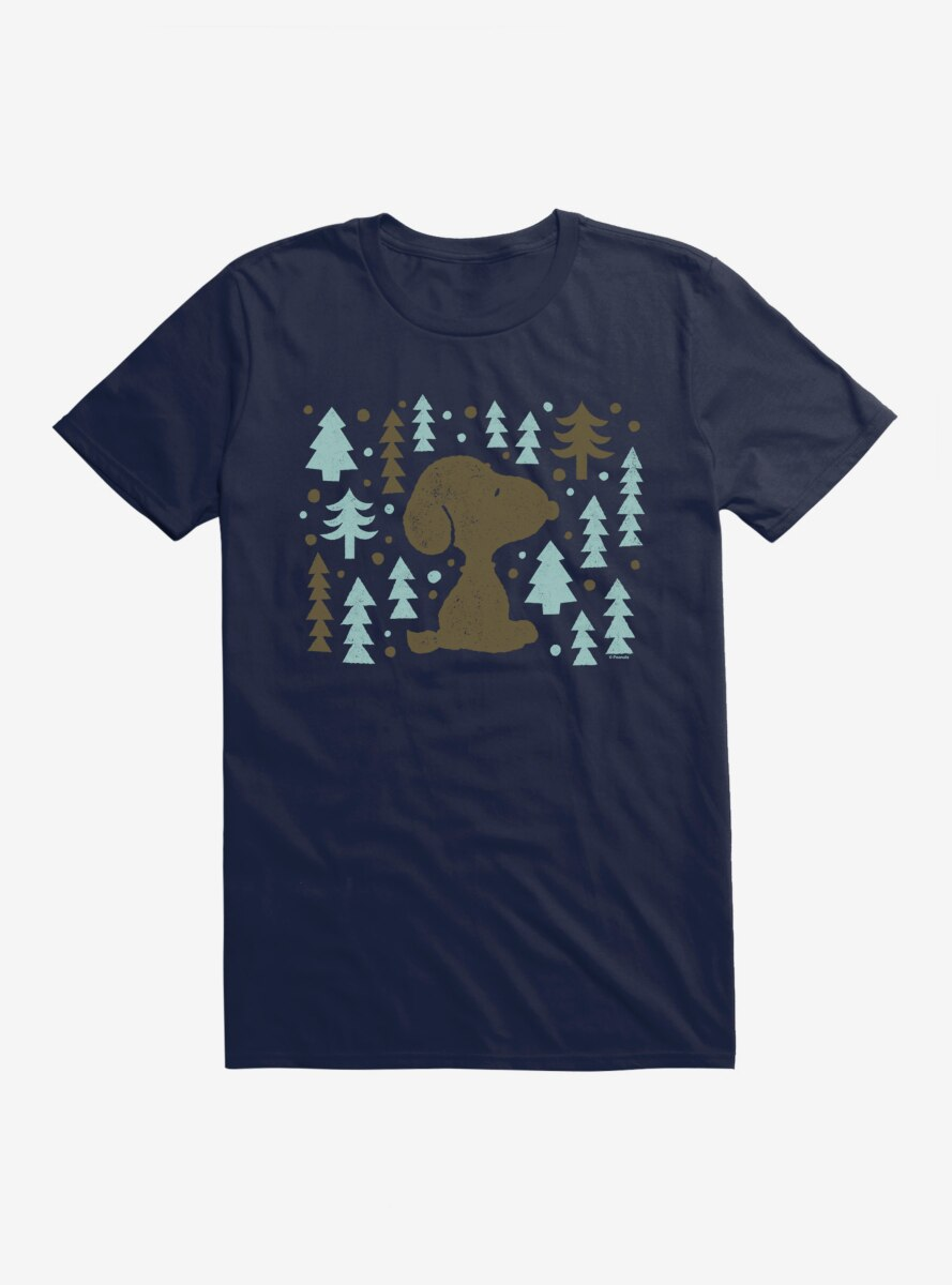 Peanuts Frosty Christmas Snoopy Forest Silhouette T-Shirt