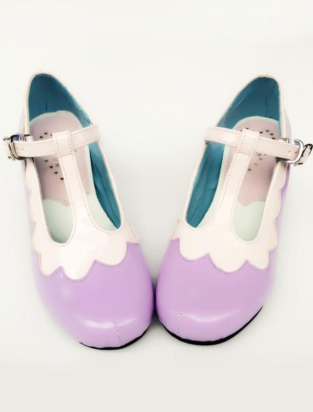 Milanoo Purple Lolita Shoes T Strap Round Toe Lolita Pumps Shoes