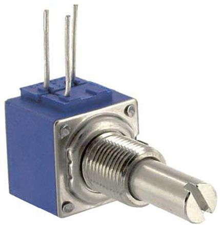 Bourns 1 Gang Continuous Turn Rotary Cermet Potentiometer with an 6.35 mm Dia. Shaft - 1kΩ, ±10%, 2W Power Rating,