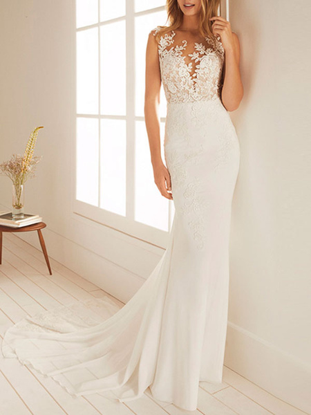 Milanoo simple wedding dress mermaid chiffon jewel neck sleeveless floor length beach bridal gown with court train