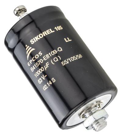 EPCOS 10000μF Electrolytic Capacitor 63V dc, Screw Mount - B41570E8109Q