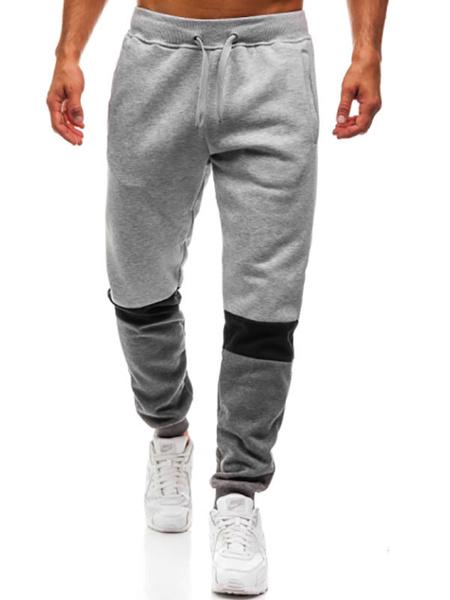 Milanoo Men Sweat Pant Cotton Color Block Tapered Fit Casual Pant