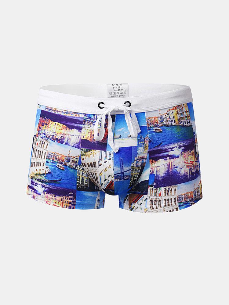 Summer Beach Printing Trunks Drawstring Designer Swimwear For Men