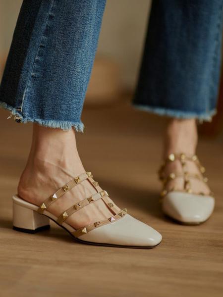 Milanoo Block Heel Mules Black Square Toe Rivets Block Heel Slip-On Slide Shoes