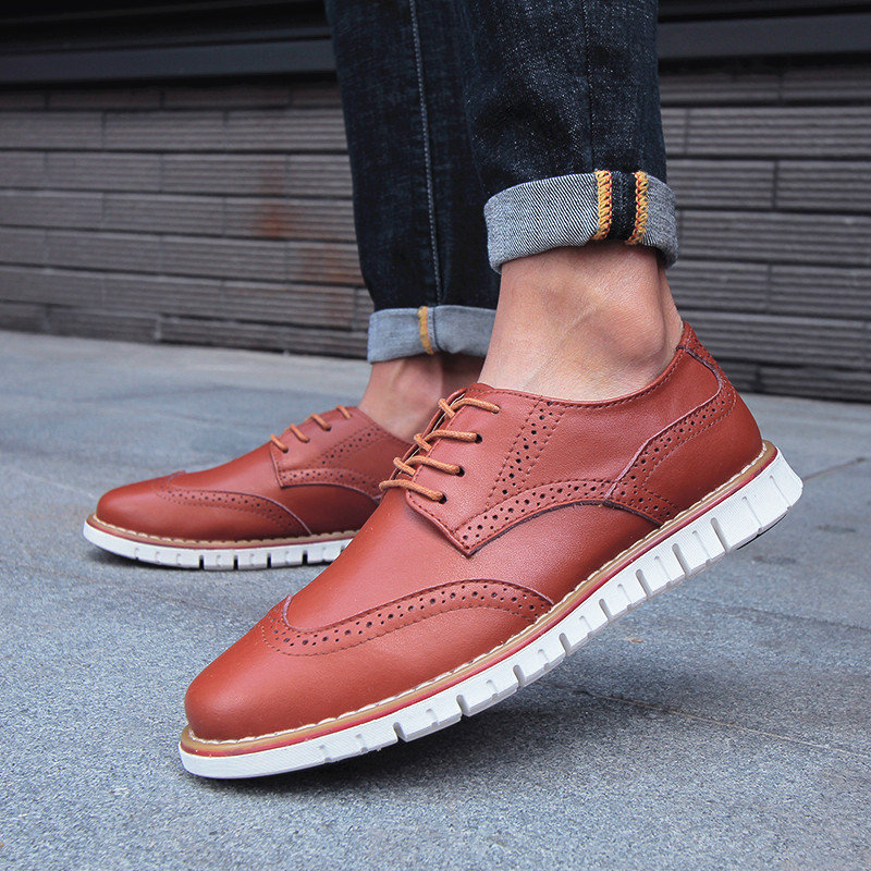 Men Brogue Carved Oxfords Comfy Microfiber Leather Lace Up Casual Shoes
