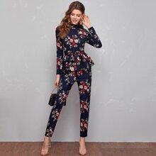 Mock Neck Belted Peplum Floral Top & Pants Set