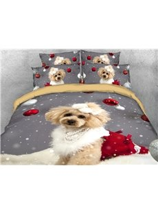 3D Dog Printed Christmas Duvet Cover Set 4-Piece Polyester Bedding Sets