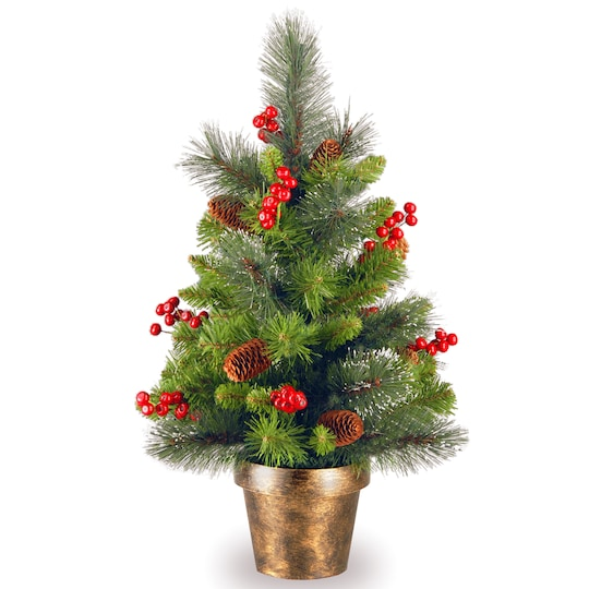 2Ft Crestwood Spruce Small Tree With Silver Bristle, Cones, Red Berries & Glitter In A Bronze Plastic Pot By National Tree Company | Michaels®