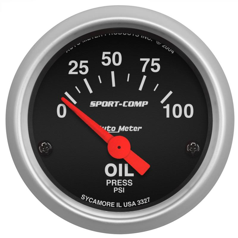 AutoMeter GAUGE; OIL PRESSURE; 2 1/16in.; 100PSI; ELECTRIC; SPORT-COMP