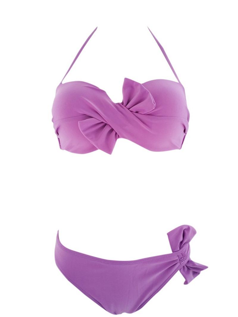 Ericdress Plain Bikini Set Bowknot Lace-Up Swimwear