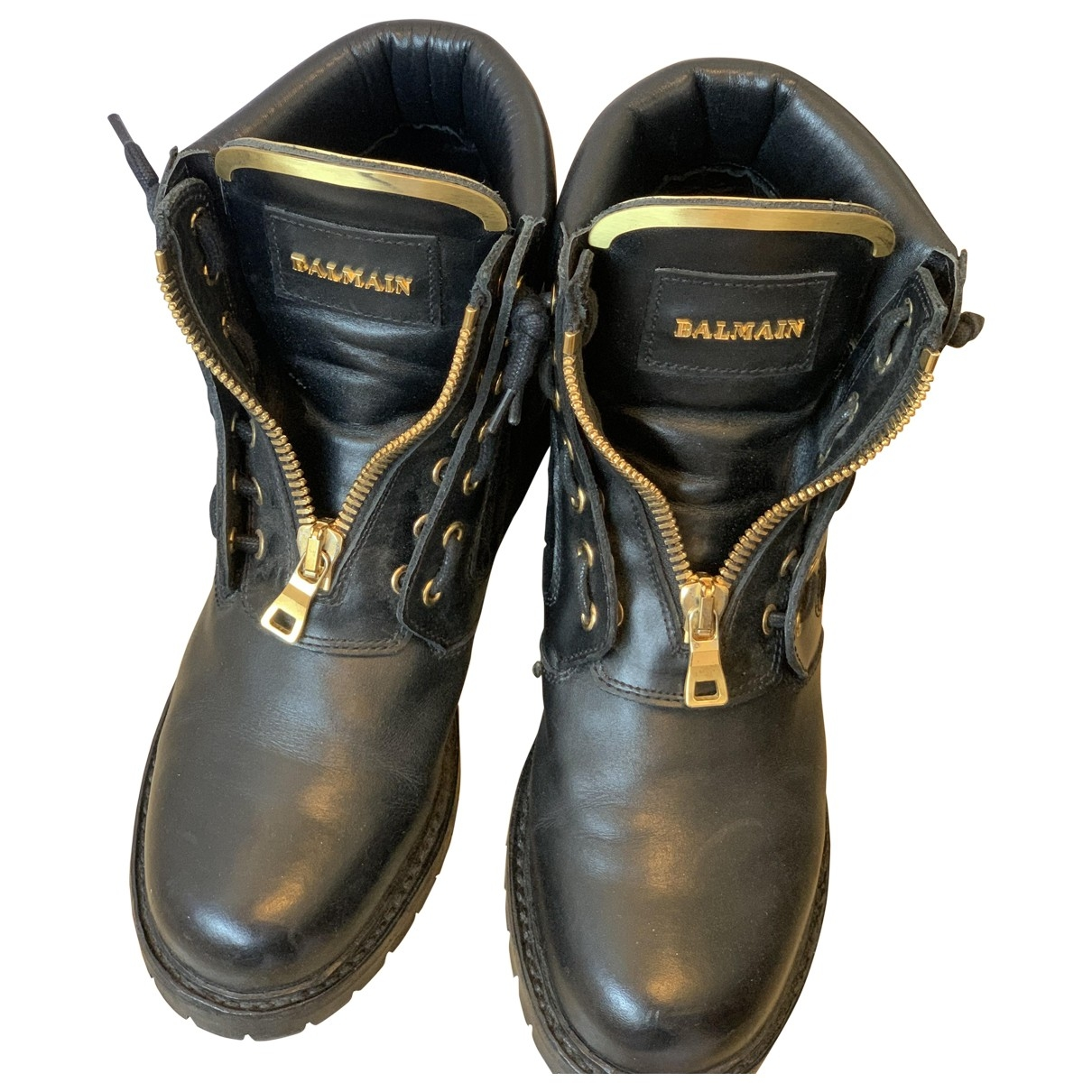 Balmain \N Black Leather Ankle boots for Women 39 EU