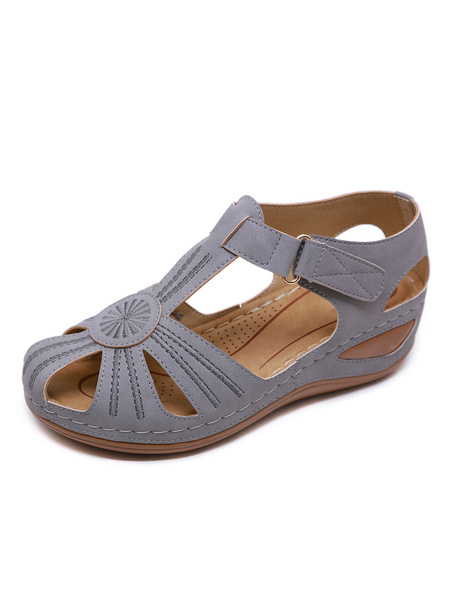 Milanoo Wedge Sandals For Woman Beautiful Artwork Closed Toe PU Leather Breathable