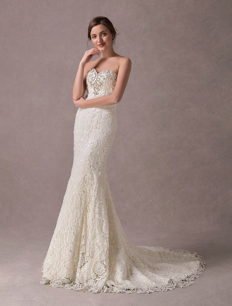Milanoo Mermaid Wedding Dresses Lace Strapless Ivory Sweetheart Beaded Bridal Dress With Train