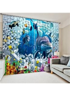 3D Cute Dolphins and Turtle Playing with Golden Fishes Printed Blackout Curtain