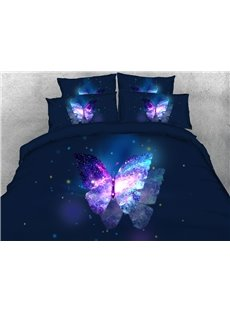 Butterfly And Galaxy Soft Lightweight 3D United States Duvet Cover Set 4-Piece Bedding Set