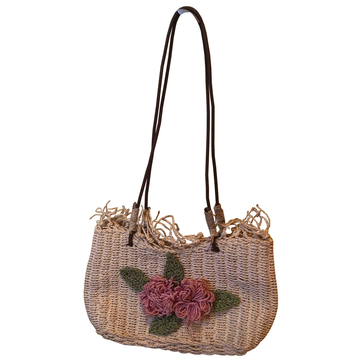 Non Signé / Unsigned \N Yellow Wicker handbag for Women \N
